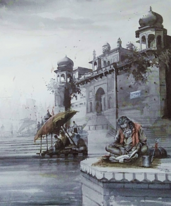 Watercolour on Paper painting titled Sadhus at the Varanasi Ghats