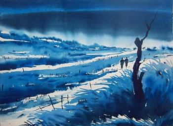 Watercolour on paper painting titled Tranquil Vistas II