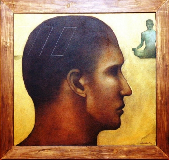 arcylic on canvas painting titled A face