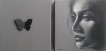 Charcoal & Acrylic on canvas painting titled the illusive