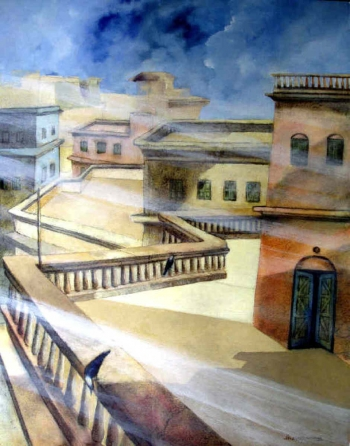 Oil, charcoal & Acrylic on Canvas painting titled Old Terraces of Kolkata