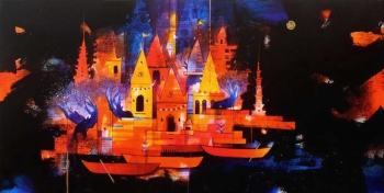 Charcoal, Gold & Acrylic on canvas painting titled Magical Temple City by the Riverbank II