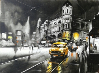 Acrylic on Canvas painting titled One Monsoon Night
