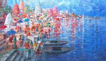 Acrylic on Canvas painting titled The Beauty of Benares
