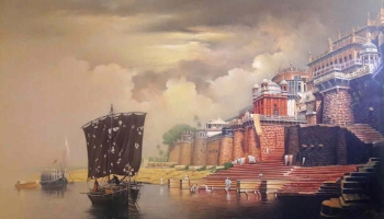 Acrylic on Canvas painting titled Sunrise at Ramnagar Fort Palace, Benares I