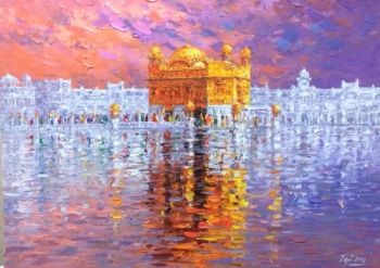 Acrylic on Canvas painting titled The Golden Temple, Amritsar