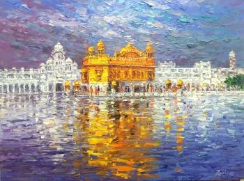 Acrylic on Canvas painting titled Harmandir Sahib