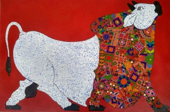 Mixed media on Canvas board painting titled The Royal Bull in Red