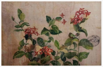 Watercolour on Silk painting titled Flowers on Silk III