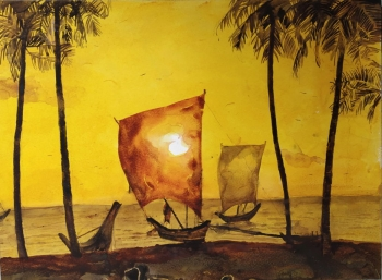 Watercolor on paper painting titled A Sunset in Gold