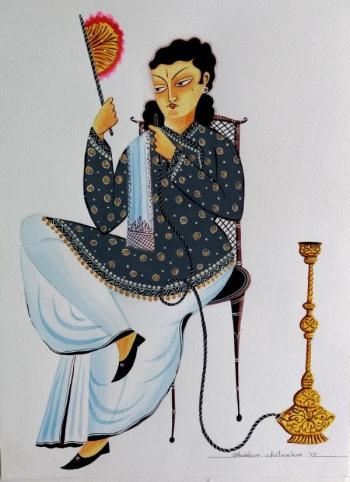 veg dye on paper painting titled Bengali Babu Reflecting on Life