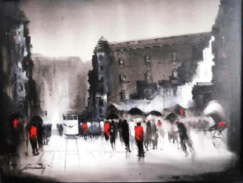 Acryllic on Canvas painting titled A City with Character II