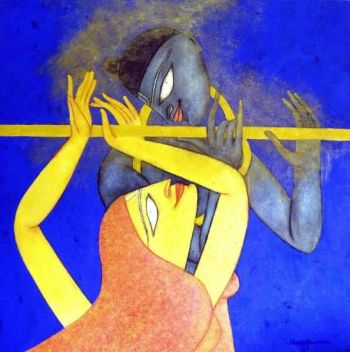 Oil, charcoal & Acrylic on canvas painting titled The Golden Flute III