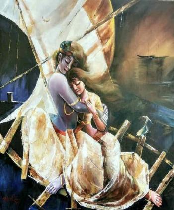 Oil & Acrylic on Canvas painting titled Nouka Bilash