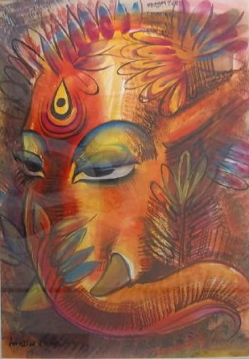 Gouache on Paper painting titled Ganesha II