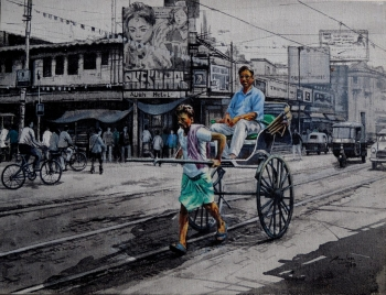 Acrylic on Canvas painting titled Kolkata Street Corner