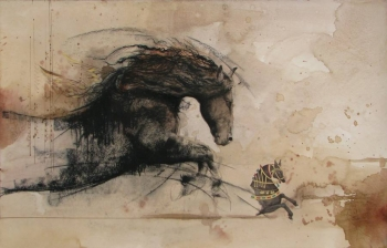 Mixed Media on paper painting titled Stallions in Action IV