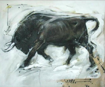 Mixed media on canvas painting titled A Bull in Action