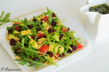 painting titled Avocado Arugula salad