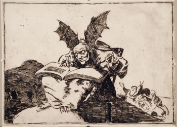 painting titled Devil after Goya