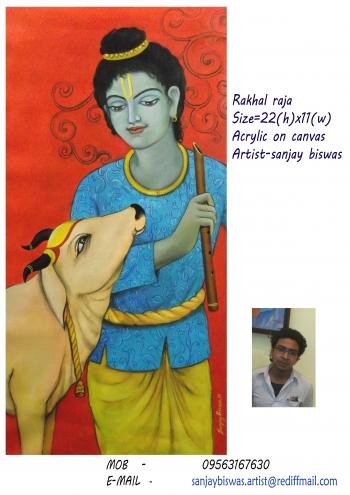 oil on canvas painting titled krishna