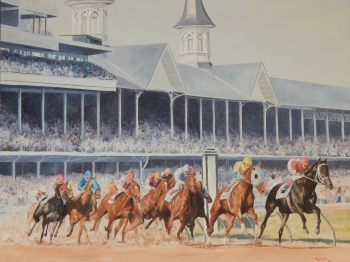 Oil on Canvas painting titled A Day at the Races - The Biggest One of Them All