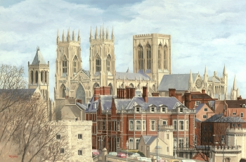 Acrylic on Illustration Board painting titled York Minster