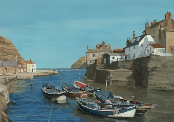 Acrylic on Illustration Board painting titled Staithes North Yorkshire England