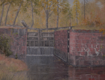 Oil on Canvas painting titled C & O Canal Lock 15