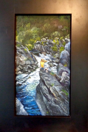 Oil n wooden panel painting titled Watching the water at Great Falls