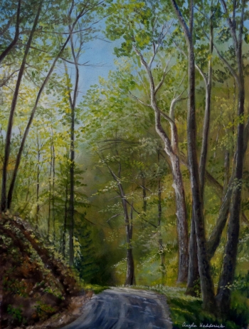 oil on canvas painting titled The Sycamores in the Gap