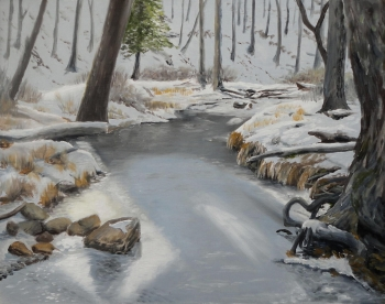 oil on wood painting titled Icy Creek Study #2