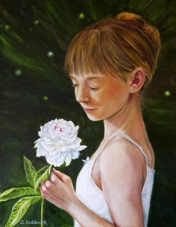 oil on canvas painting titled Girl with a Peony
