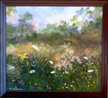 oil on wooden panel painting titled Wildflowers of Late Summer