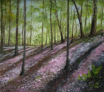 Oil on wood painting titled Walking in Spring Beauties