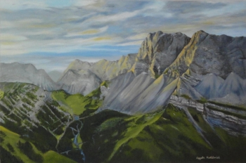 Oil on canvas painting titled Alpine Morning
