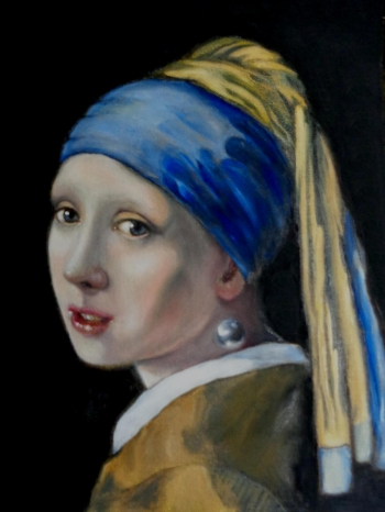 oil on canvas painting titled Girl with a Pearl Earring after Vermeer