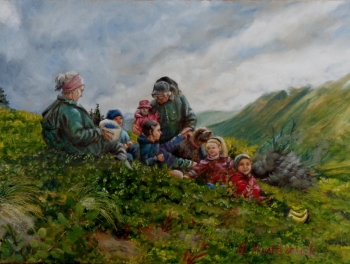 oil on canvas painting titled Blueberry picking in Alaska
