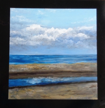 oil on wooden panel painting titled Ocean City Tidepool