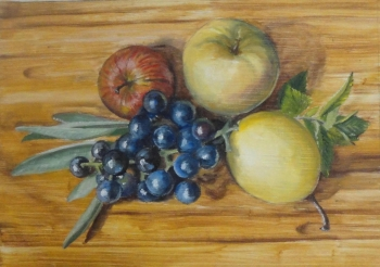oil on wood painting titled Fruit of October still life