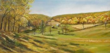Oil on canvas painting titled Hidden Cornfield