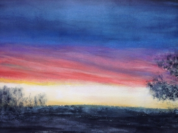 Watercolor on Paper painting titled Candy Corn Sunset