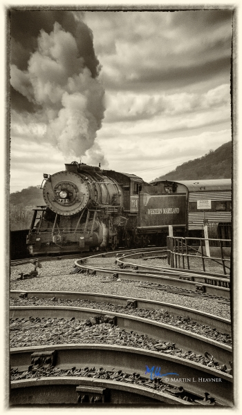 painting titled Steaming into the Station - Cumberland, MD