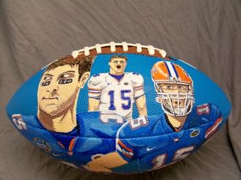 acrylic on football painting titled Teball