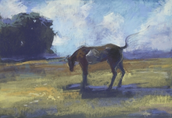 painting titled Horse Fly