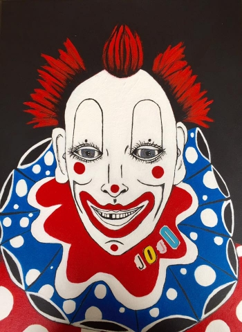painting titled Jojo the Clown