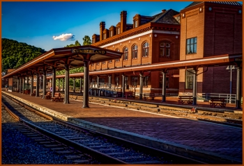 painting titled Cumberland Rail Station