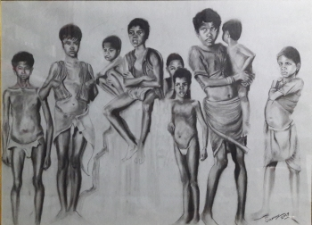 Charcoal on paper painting titled Composition