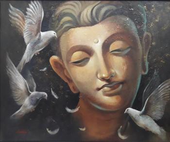 Acrylic on Canvas painting titled Buddha -IV