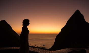 painting titled Woman at Sunset (St. Lucia)